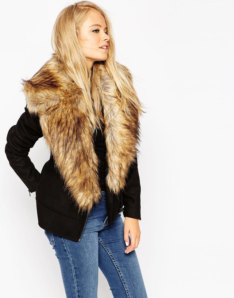 ASOS Ladies Biker Jacket with Oversized Faux Fur Collar Black UK ...