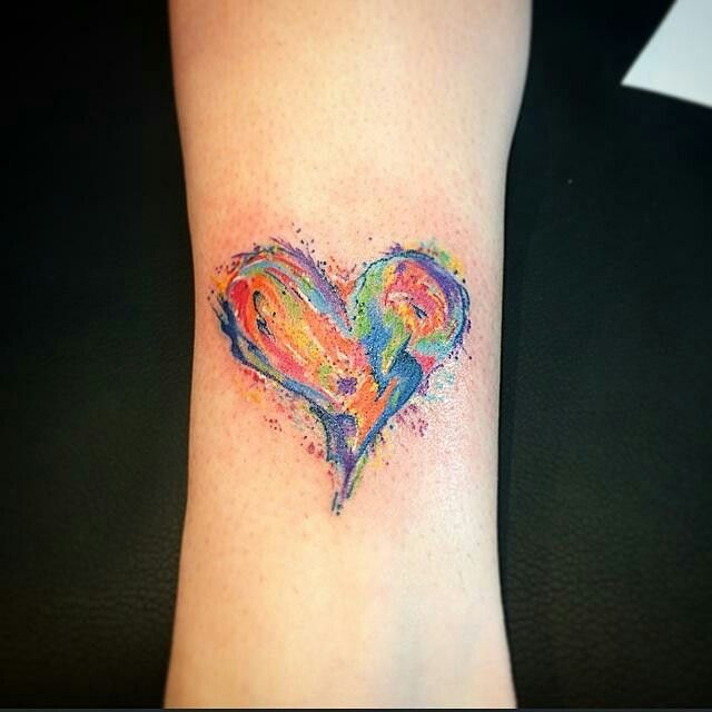 Mitch did this one! #mitchsousa #fltny #fastlanetattoony #inked #ink #colortattoos #watercolortattoo # heart # love #customtattoos #girlytattoos #girlswithtattoos