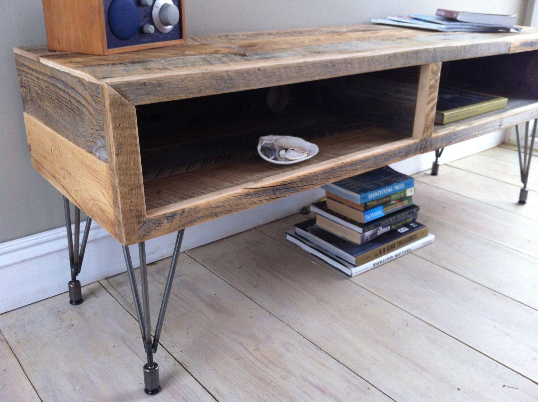 Modern industrial wood steel tv media stand reclaimed barnwood with hairpin legs 595 00 via etsy