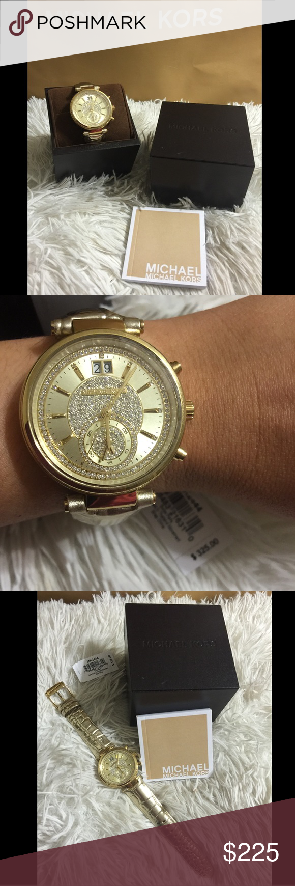 7793e4a21dcb2 ❗️New❗️MIchael Kors Sawyer Gold Crystal Watch Gold-tone stainless steel  case with