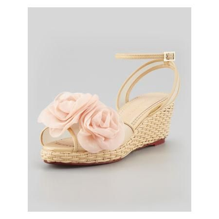772dd462f872 WOMEN S CHARLOTTE OLYMPIA FLEURETTE WICKER-WOVEN LEATHER WEDGE SANDAL Leather  Wedge Sandals