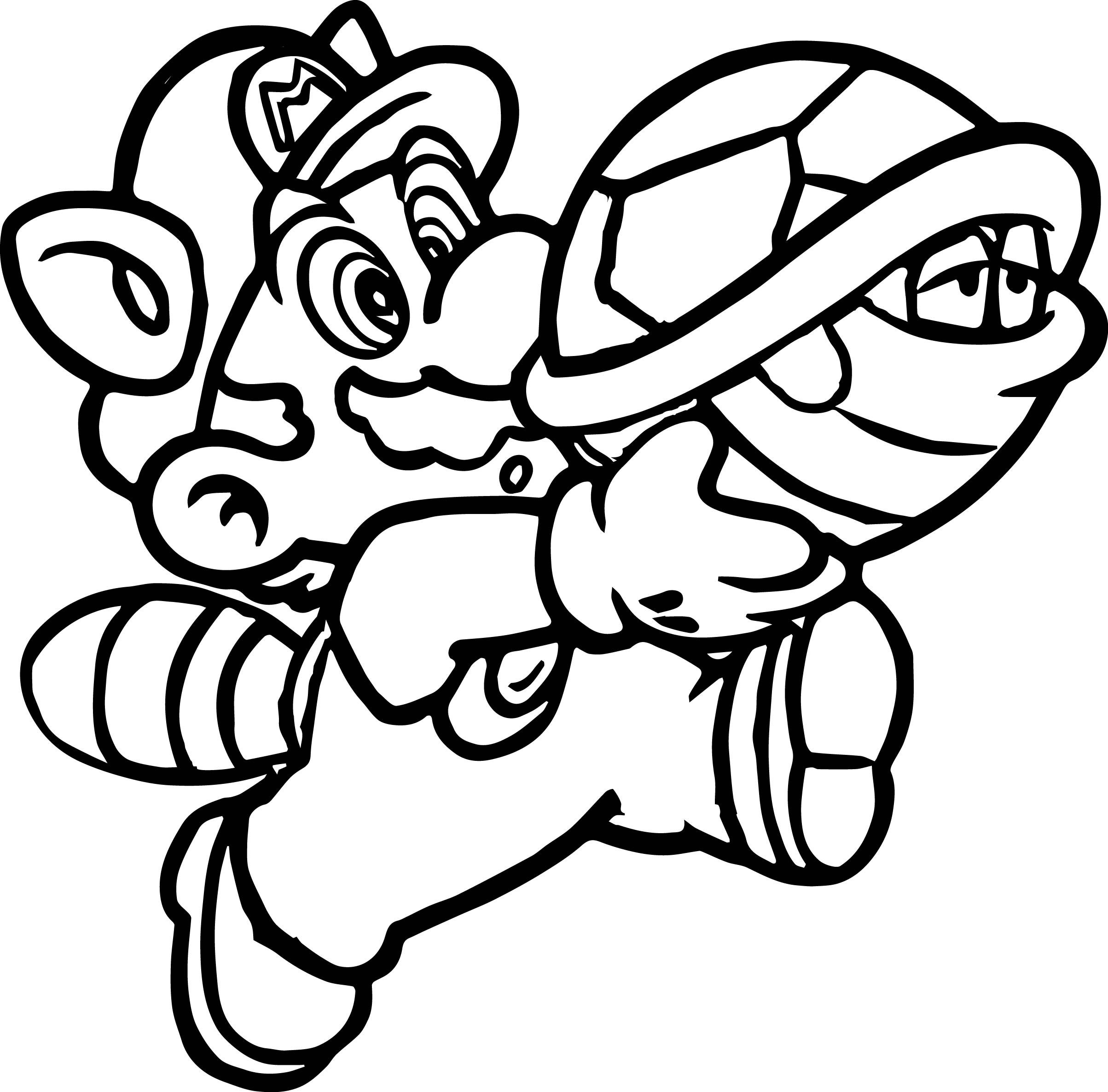 Cool Super Mario Going With Turtle And Catch Him Coloring Page