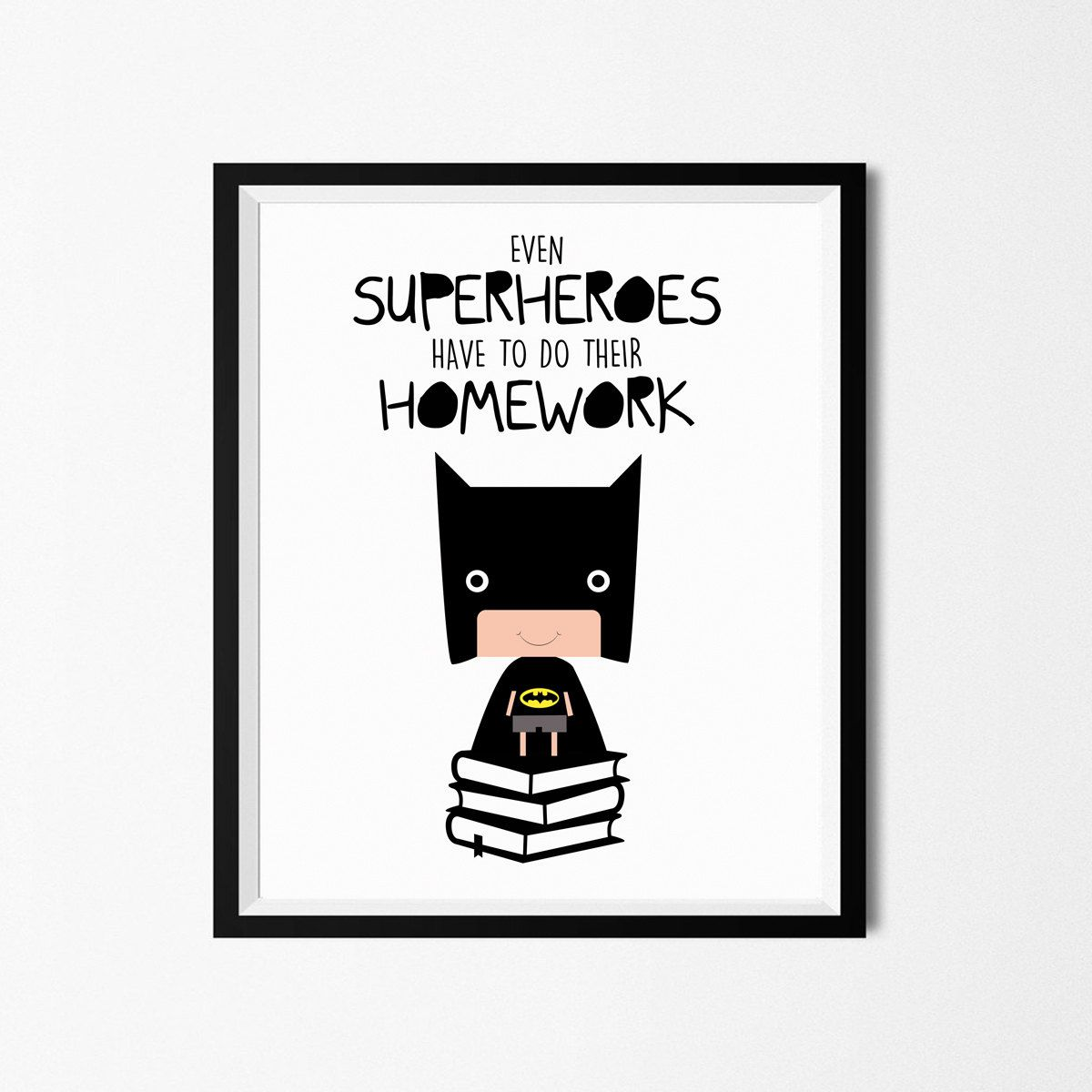 Poster Print Art Funny Superhero Illustration Art With
