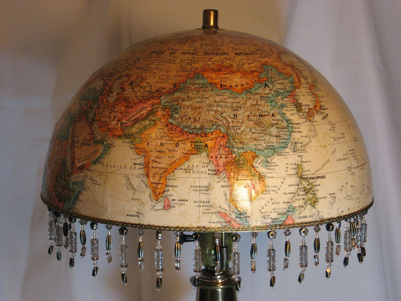 World Globe Lampshade Elegant Hand Crafted Vintage Lamp Not
