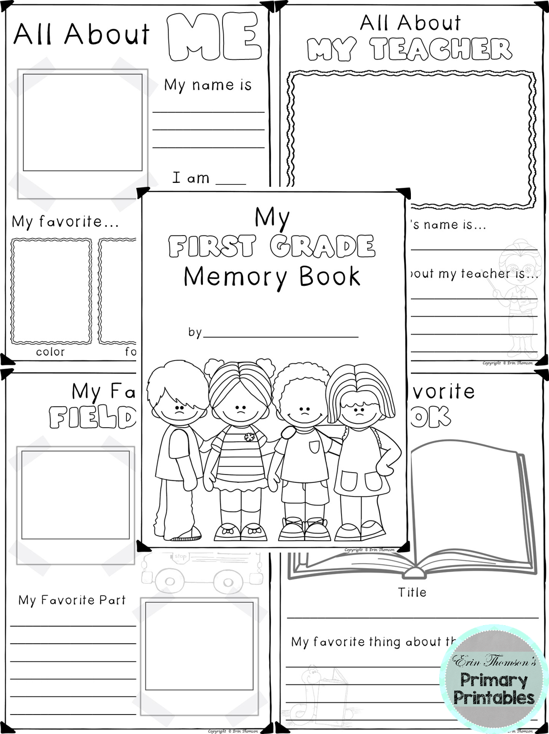 End Of The School Year Memory Book Includes Covers For Preschool Kindergarten First Grade