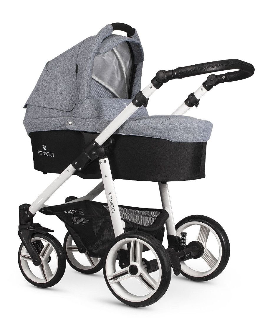Venicci Soft Med Grey with White Chassis Travel System