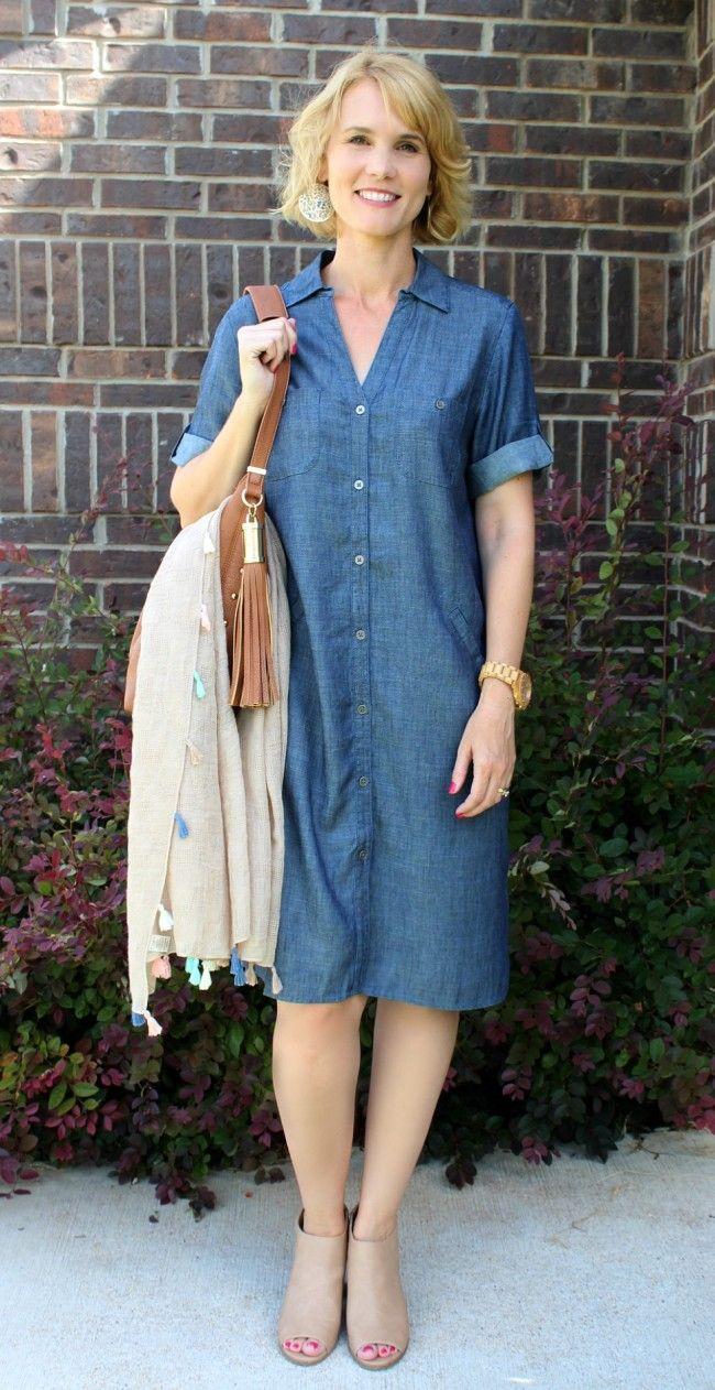 Chambray Shirtdress Outfit Idea More Tassels Mom Fabulous Shirt Dress Outfit Chambray Shirt Dress Shirt Dress [ 1262 x 650 Pixel ]