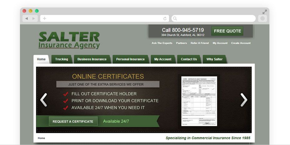 Salter insurance agency specializes in trucking insurance