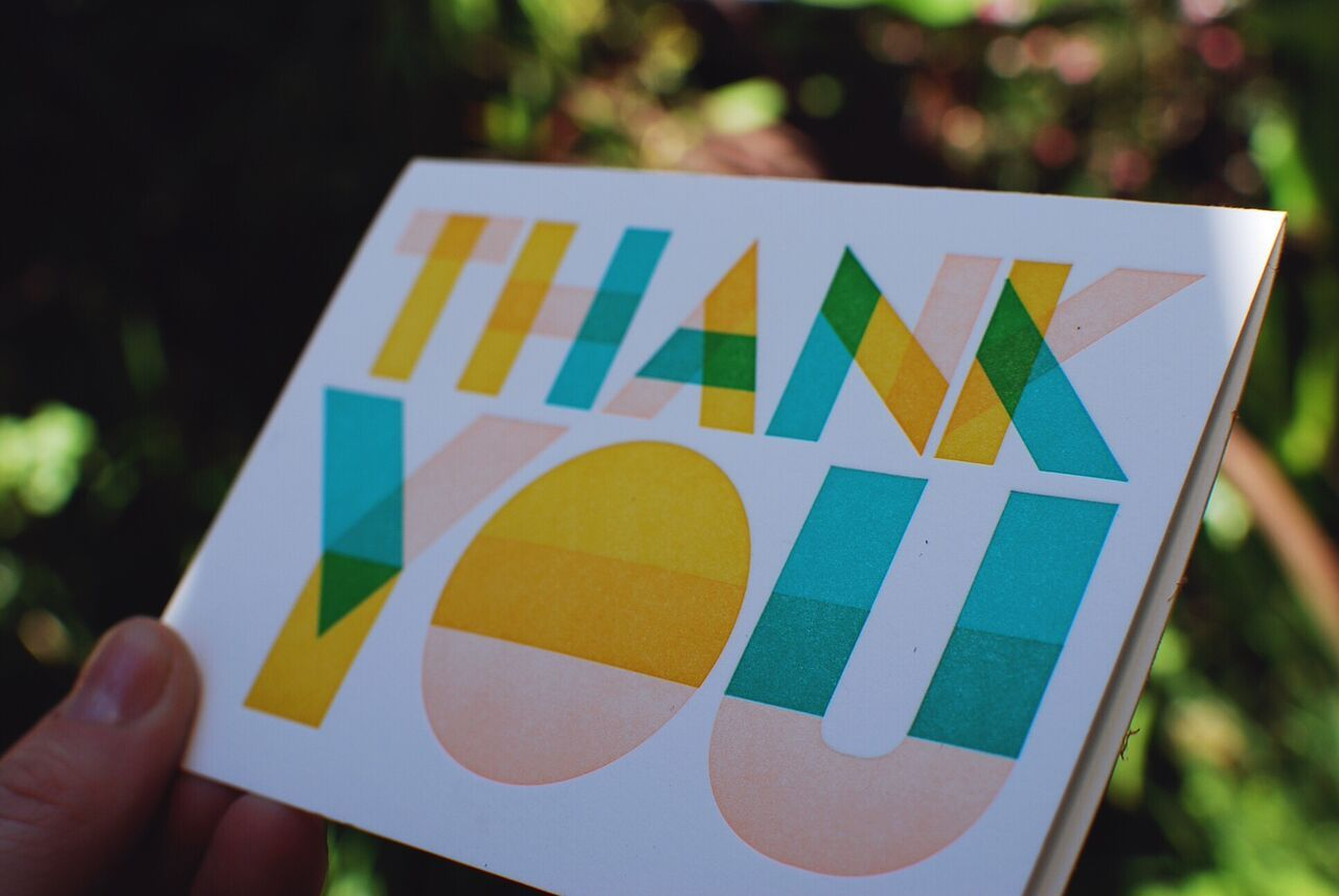 Our Colorful Thank You Letterpress Greeting Card Is Printed With Soy