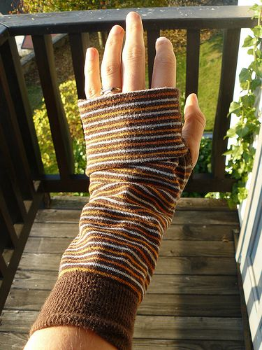 Fingerless gloves made out of socks from Offbeat Home.