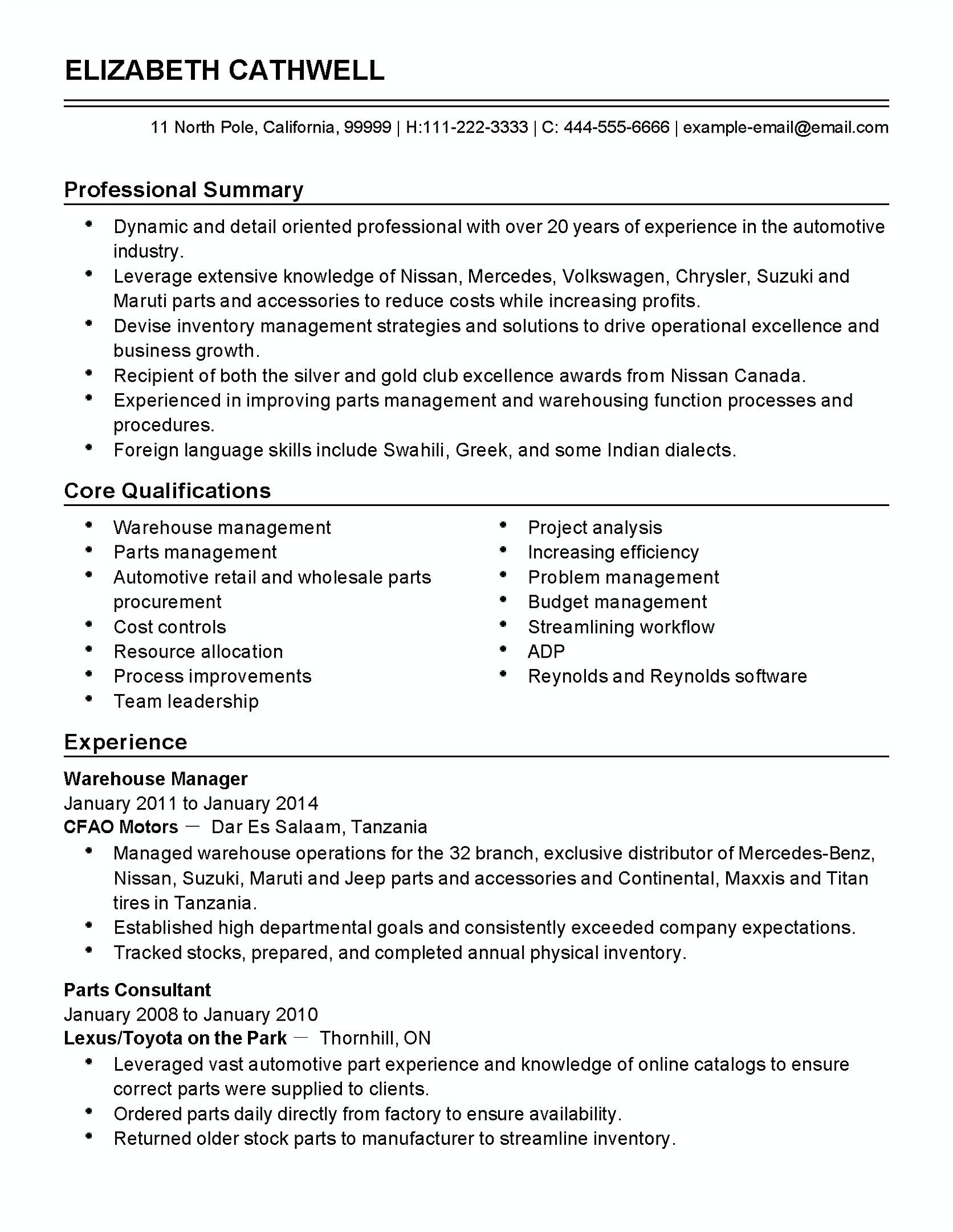 Inventory Management Resume Automotive Inventory Manager   To Apply Inventory Manager You
