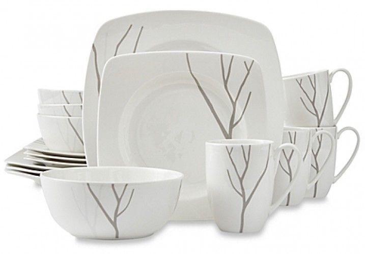 16 Piece Square Dinnerware Set Modern Porcelain Dinner Plates Bowls Mugs
