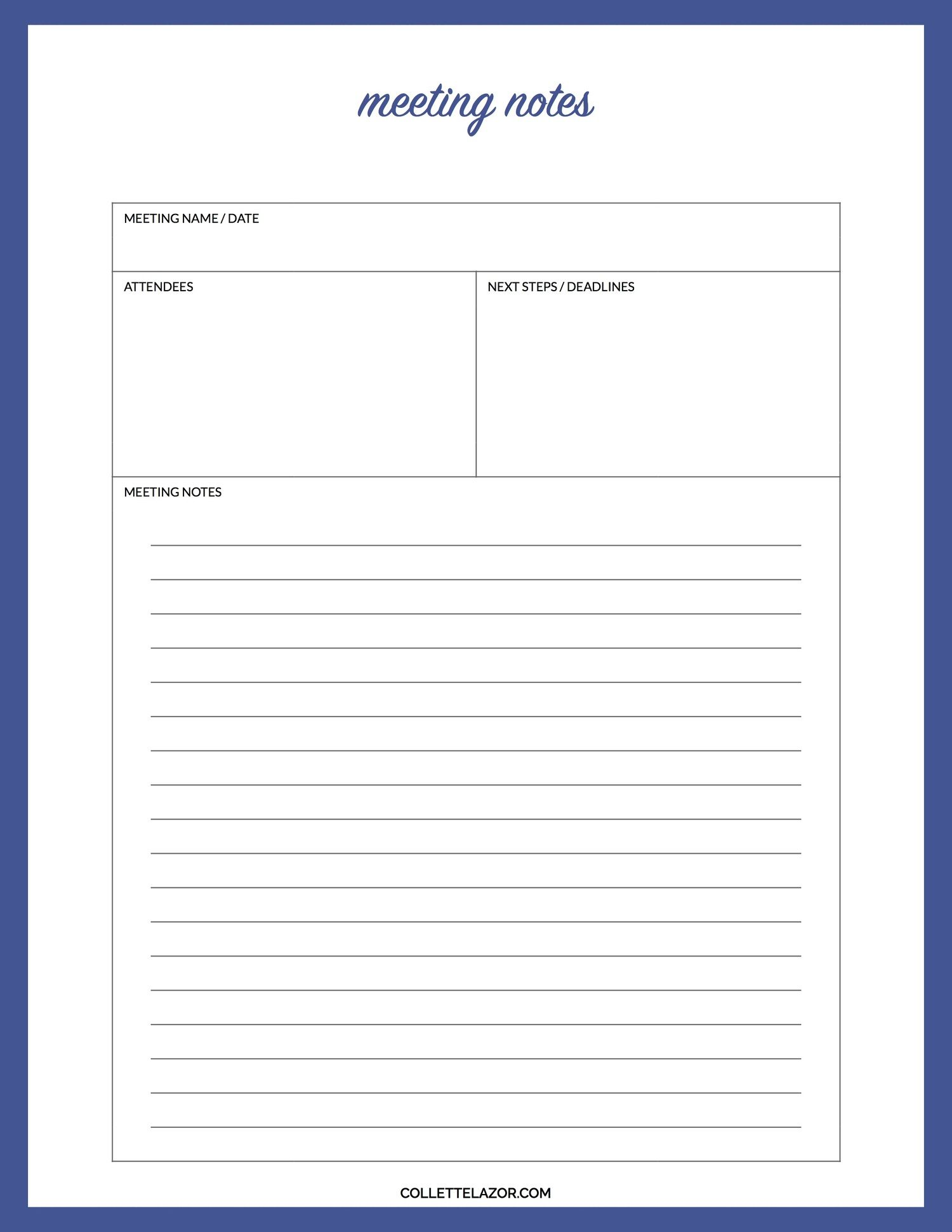 Meeting Notes Printable Made With Love By Collettelazor Meeting Notes Printable Meeting Notes Template Meeting Notes Google docs note taking template