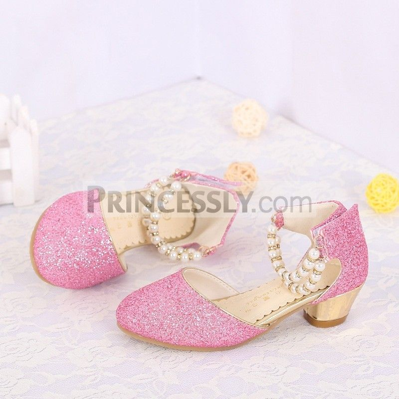 PinkSliver Glitter Trainers with Organza Laces and Pearl Flower Headband Set