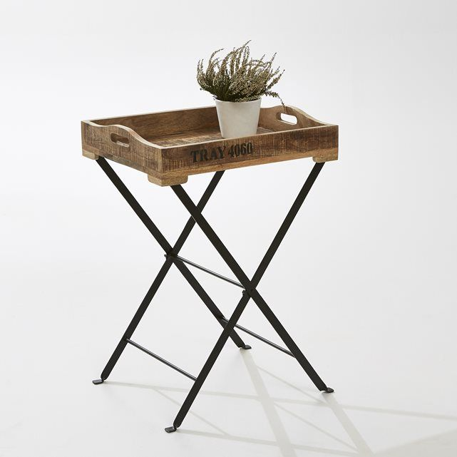 Table de jardin pliante avec plateau amovible en manguier La Redoute ...