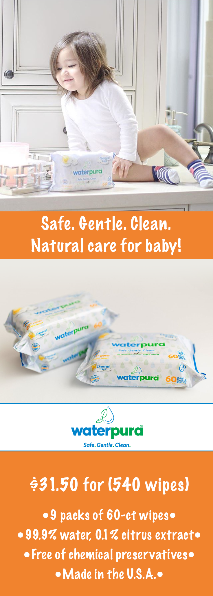 Water wipes for baby's sensitive skin. Made in the U.S.A