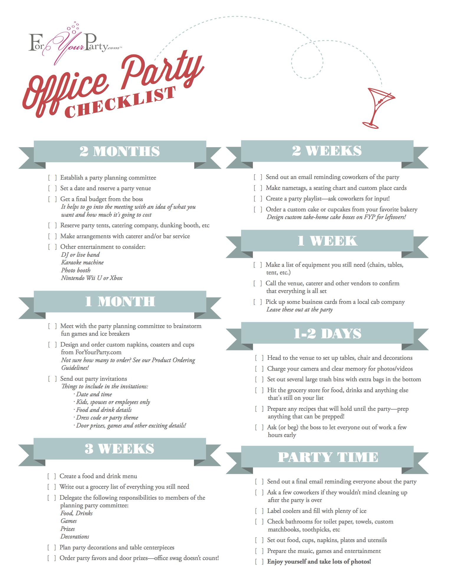 Plan your office holiday party right with our checklist! Order now ...