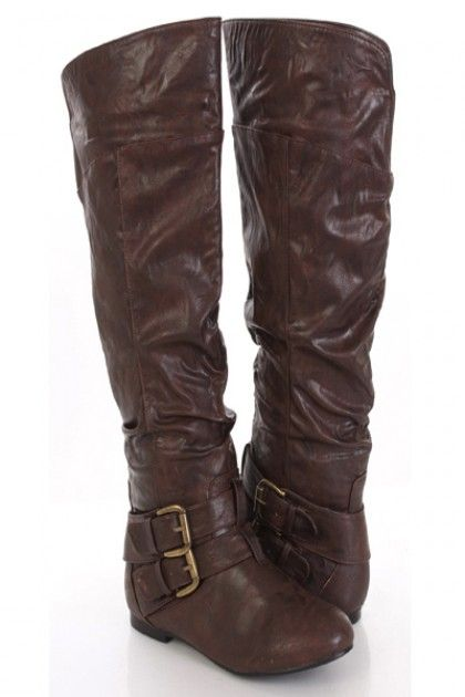 Brown Flat Knee High Boots
