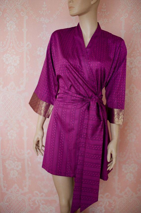 The Maharani. Soft faux silk brocade robe in a dark magenta pink ...