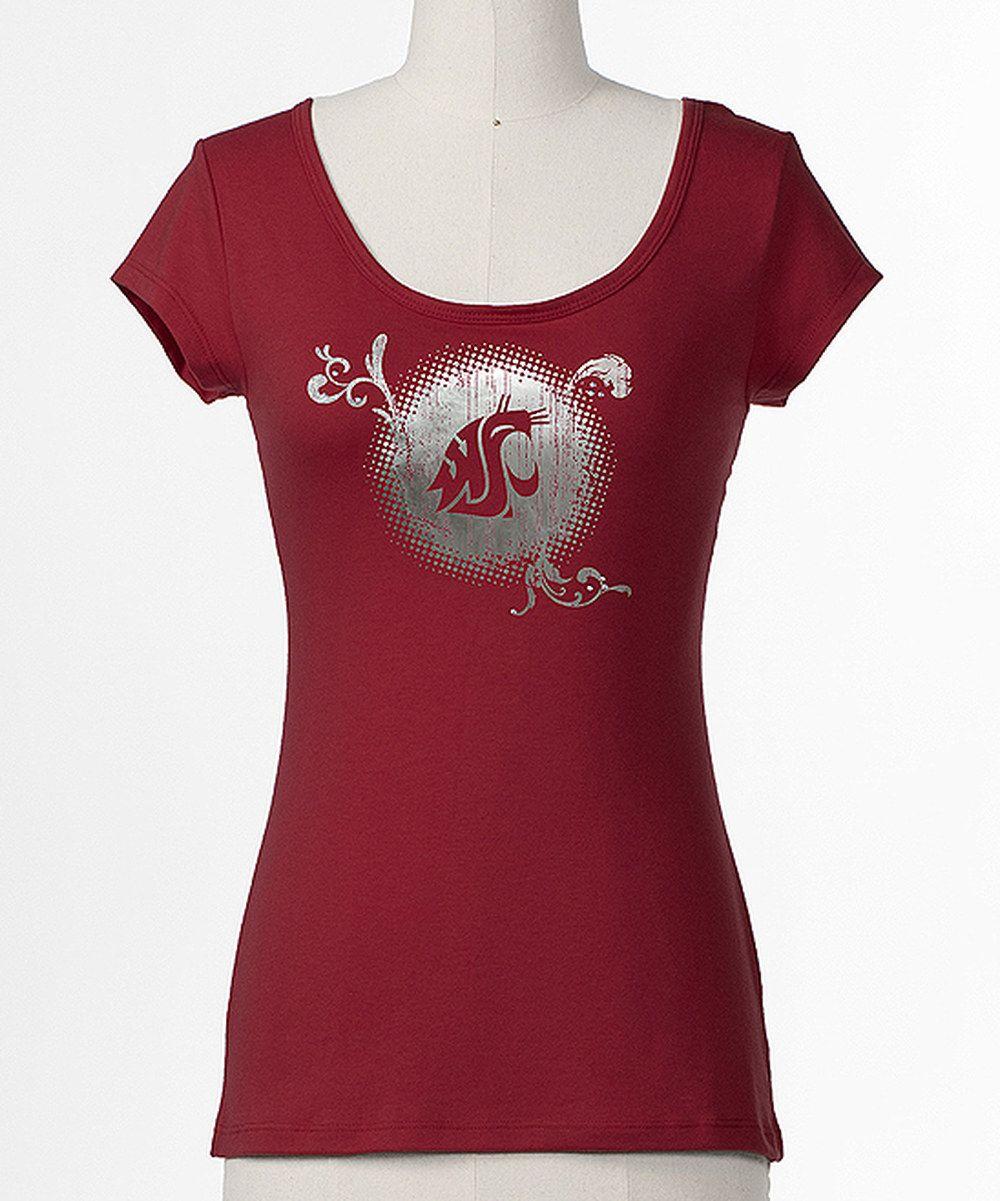 7.99 Crimson Washington State TieBack Tee Women, Bow