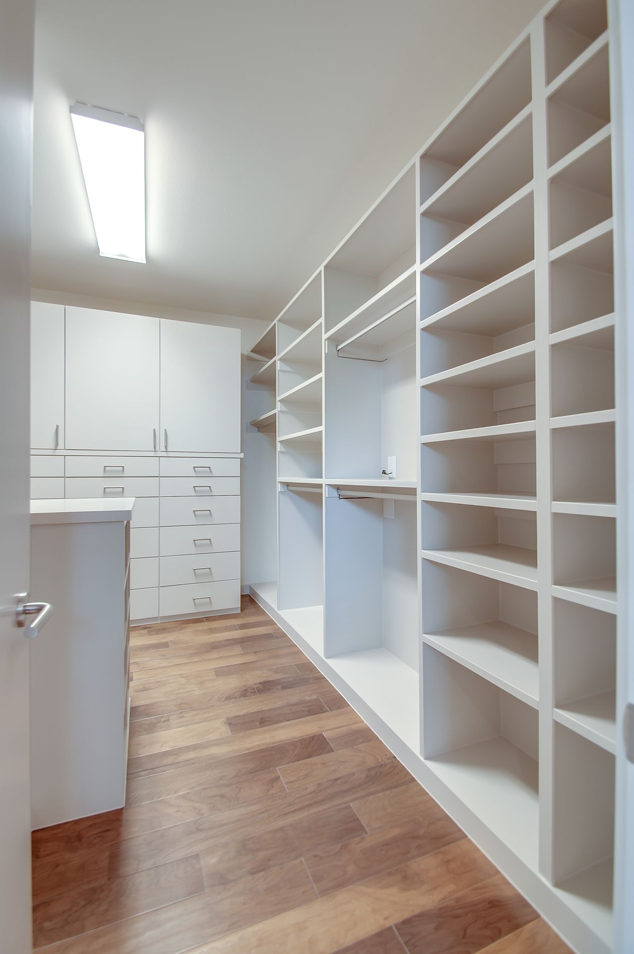 Awesome Huge Walk In Master Closet White Hanging Rods Open Shelves Closed Cabinets With Closets
