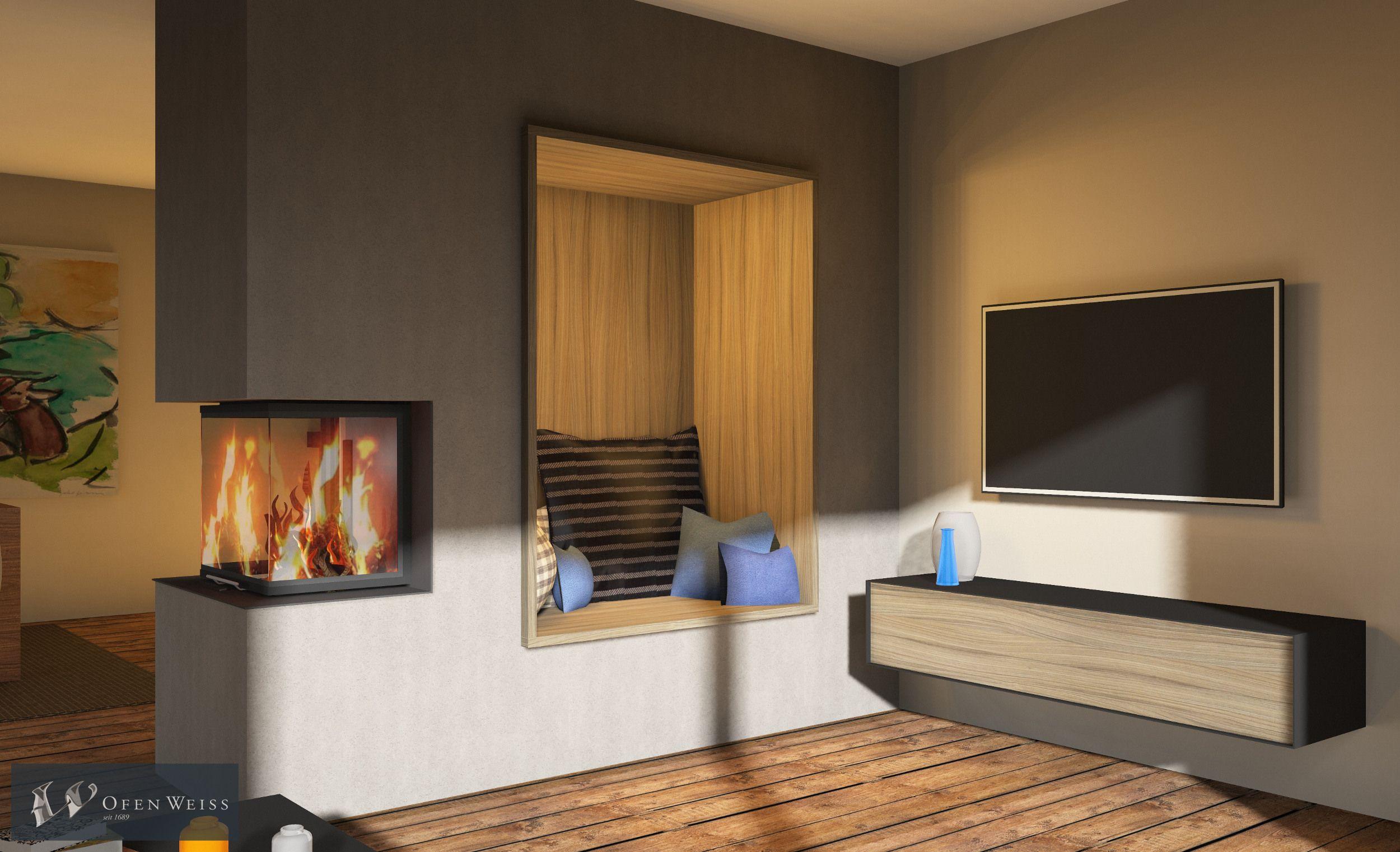 Panoramakamin als Raumteiler mit kuscheliger Nische. CAD Zeichnung ...