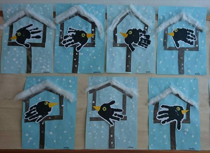 Vögelhäuschen mit Händeabdruck #winterbastelnkinder