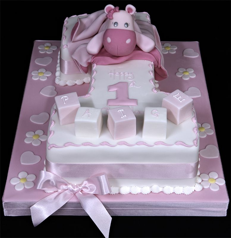 003657 Number One 1st Birthday Cake With Name Blocks And Hippo