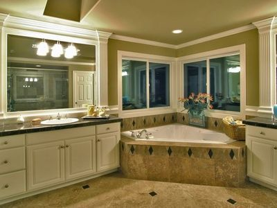 Gorgeous Tiles Corner Whirlpool Tub Plan Bath