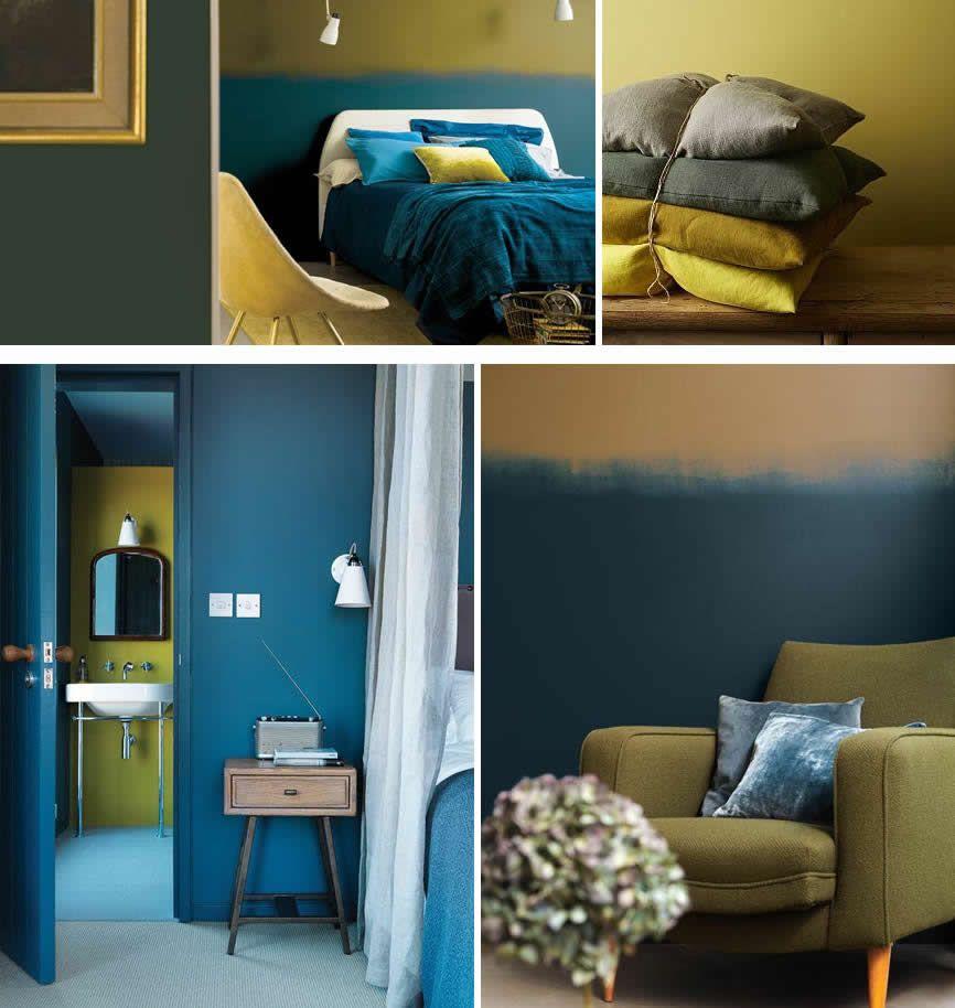 Okergoud met blauw kleur van 2016 kleuren nieuw huis pinterest blauw kleur en slaapkamer - Decoratie kamer slapen schilderij ...
