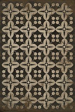 Pattern Iii White On Black Vinyl Flooring Floor Cloth Painted