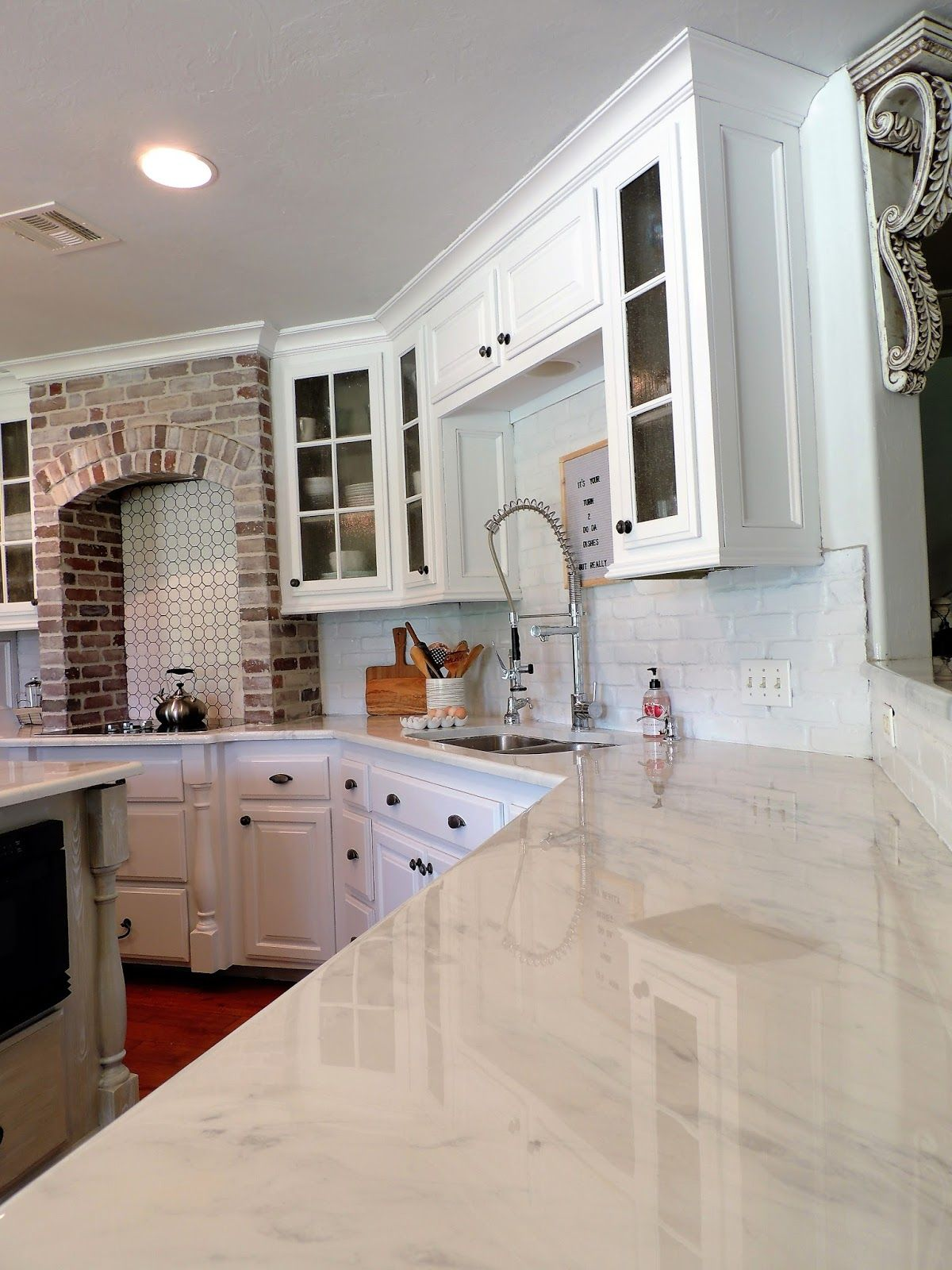 White Concrete Countertops Over Laminate