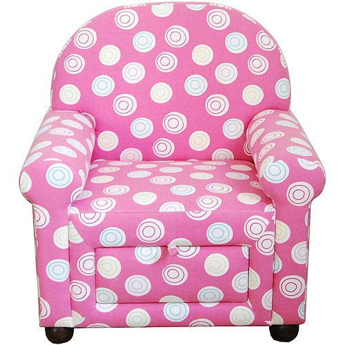 Girlsu0027 Accent Chair With Pull Out Storage, Pink