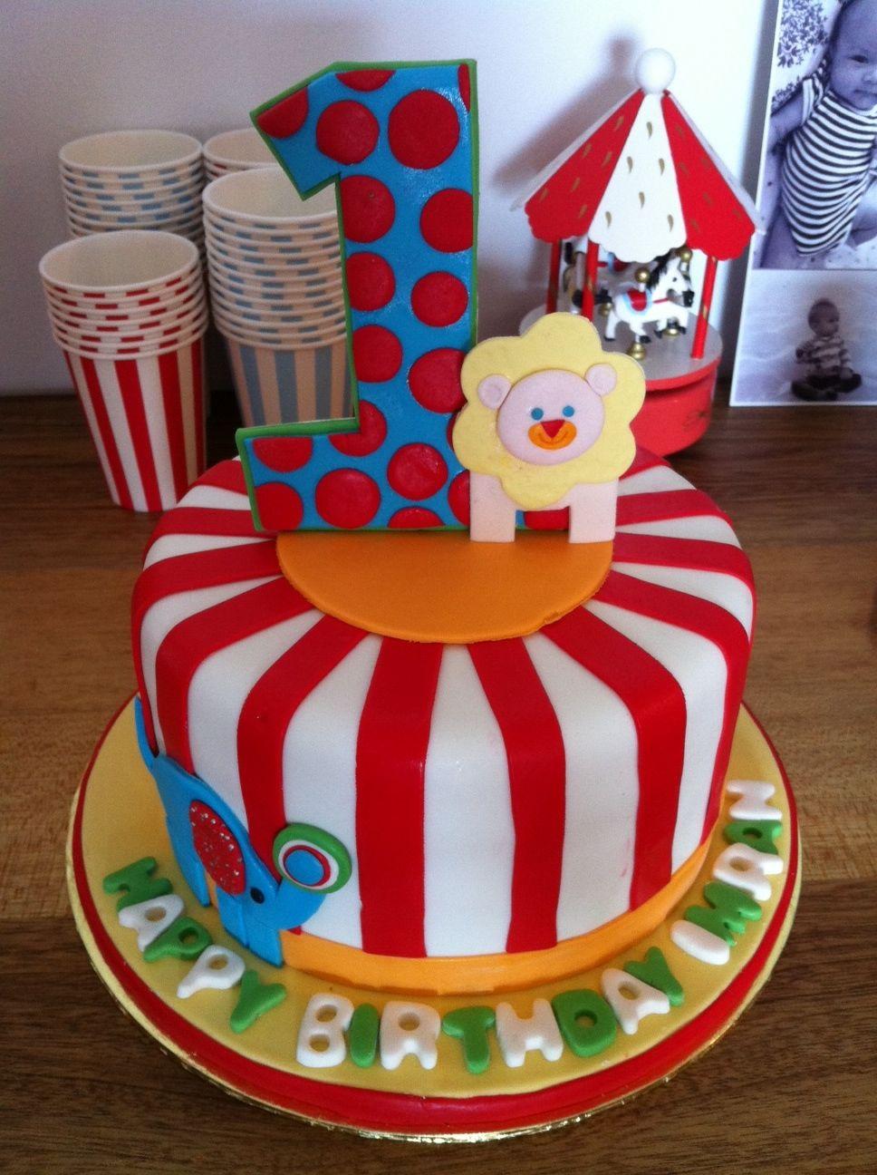 Carnival Themed First Birthday Cake Elephant Birthday Cakes Carnival Birthday Cakes Carnival Birthday