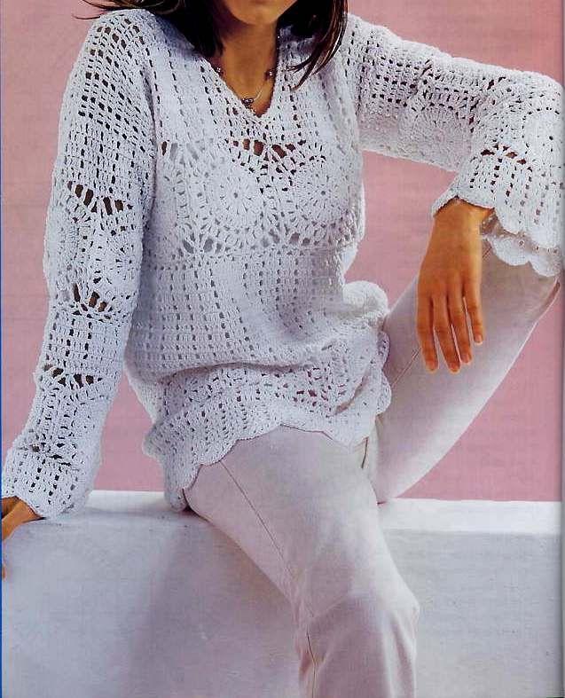 Suéter con motivos hexagonales   crochet   Pinterest   Suéteres ...