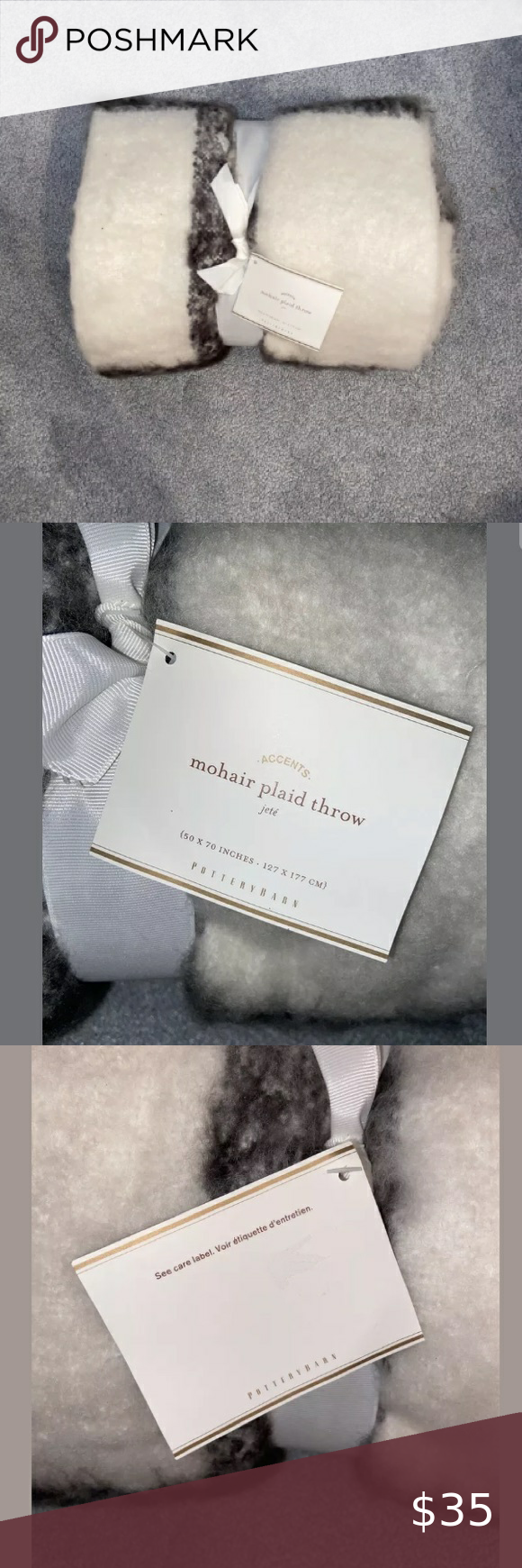 Pottery Barn White Grey Plaid Mohair Throw Blanket In 2020