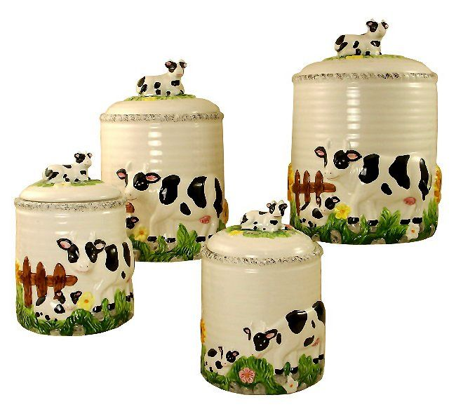 Cows For The Kitchen Kitchen Canisters 4pc Canisters Set Cow Decor Farm