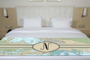 Amazon.com - Letter N Nautical Chart Map Initial Monogram Bed Runner or Table Runner Scarf Twin/Full/Queen/King Size -