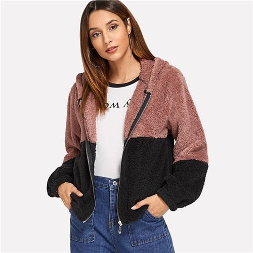 c1b42ab209f8 Colorblock Hooded Teddy Jacket Womens Jackets And Coats Casual Autumn 2018 Clothing  Fashion Zipper Long Sleeve Outerwear #jackets #coat #trench #long #style ...