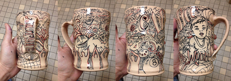 ceramic mug covered in a self expressive design.