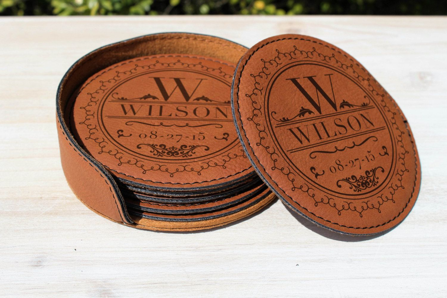 9th Anniversary Leather Gift Wedding Coasters Set Of 6 With Holder And Personalized Laser Engraving