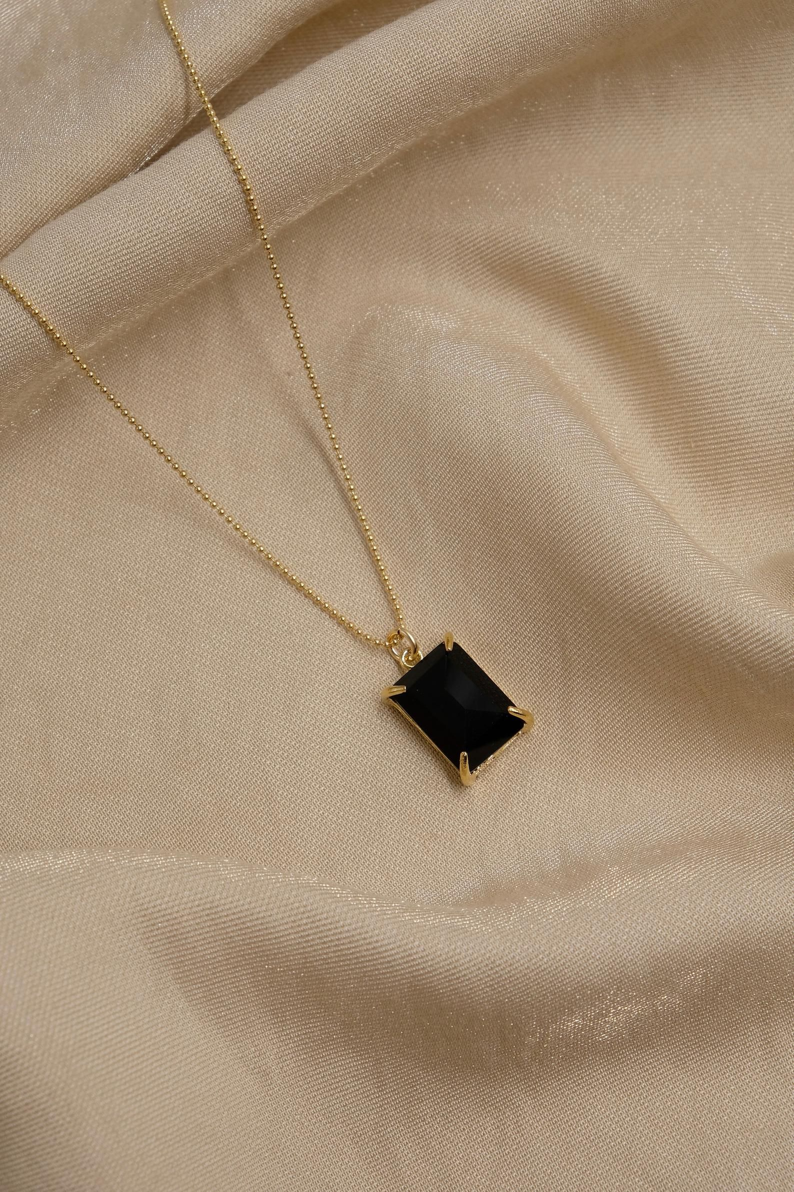"Genuine Cut BLACK ONYX 2 Stone Modern Pendant 2/"" Silver Plated Fashion Jewelry"