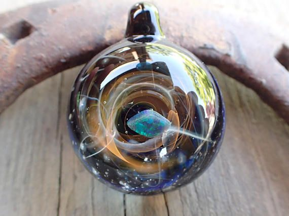 Blue Hand Blown Glass Pendant Necklace Galaxy Pendant Glass