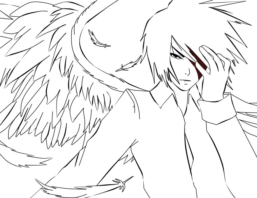 Anime Angels Coloring Page Angel coloring pages, Anime