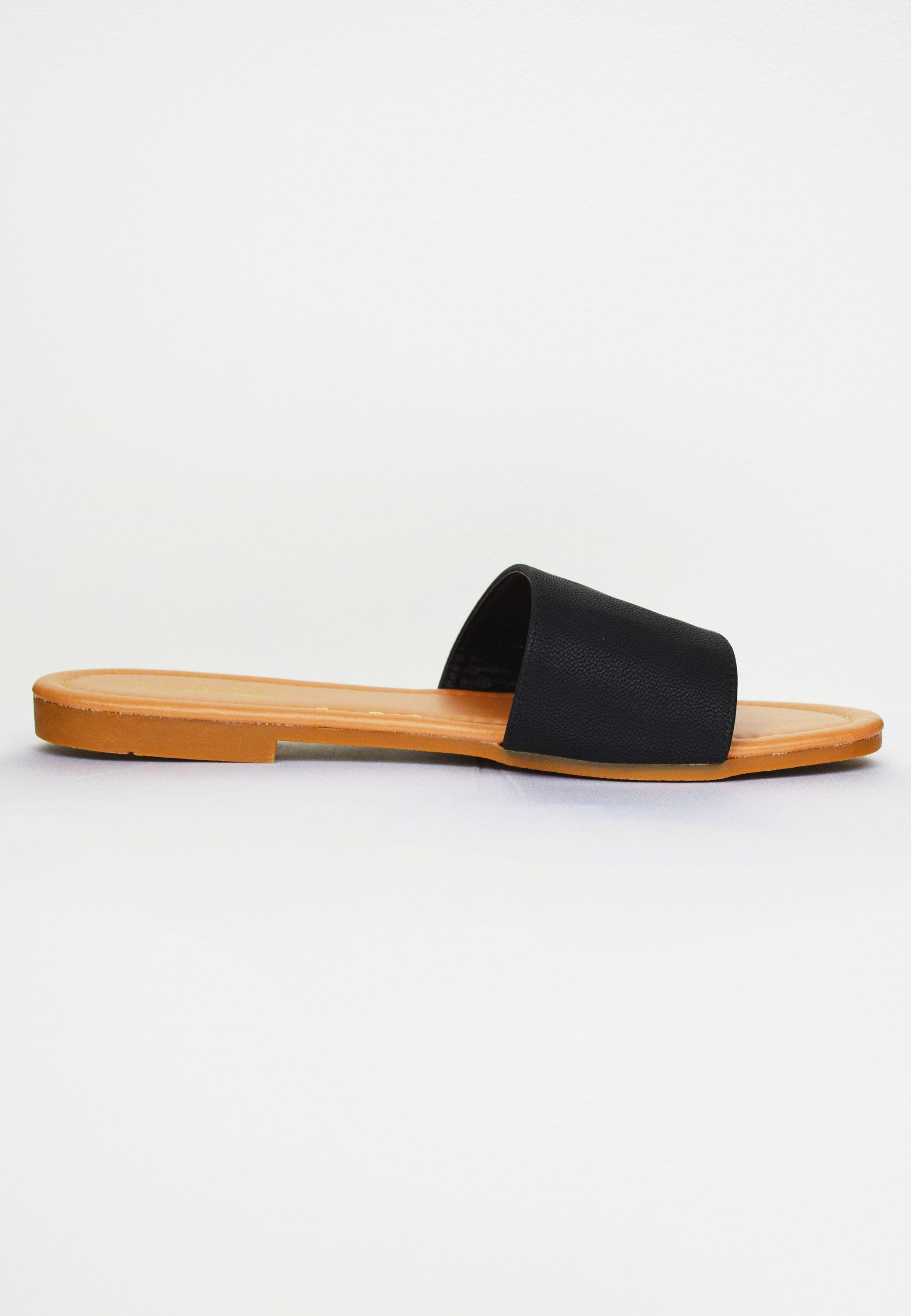 put together slip on sandal - black