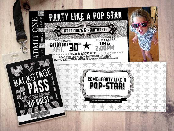 ROCK STAR concert ticket birthday party invitation- Music invitation