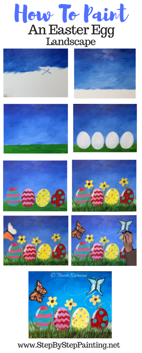 Easter Canvas Painting - How To Paint an Easter Egg Landscape