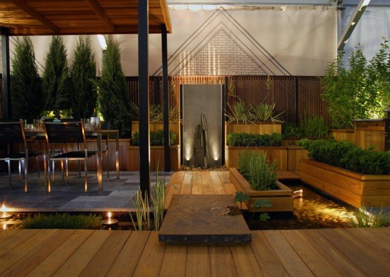 Le jardin avec bassin aquatique 99 idées de décoration - terrasse bois avec bassin