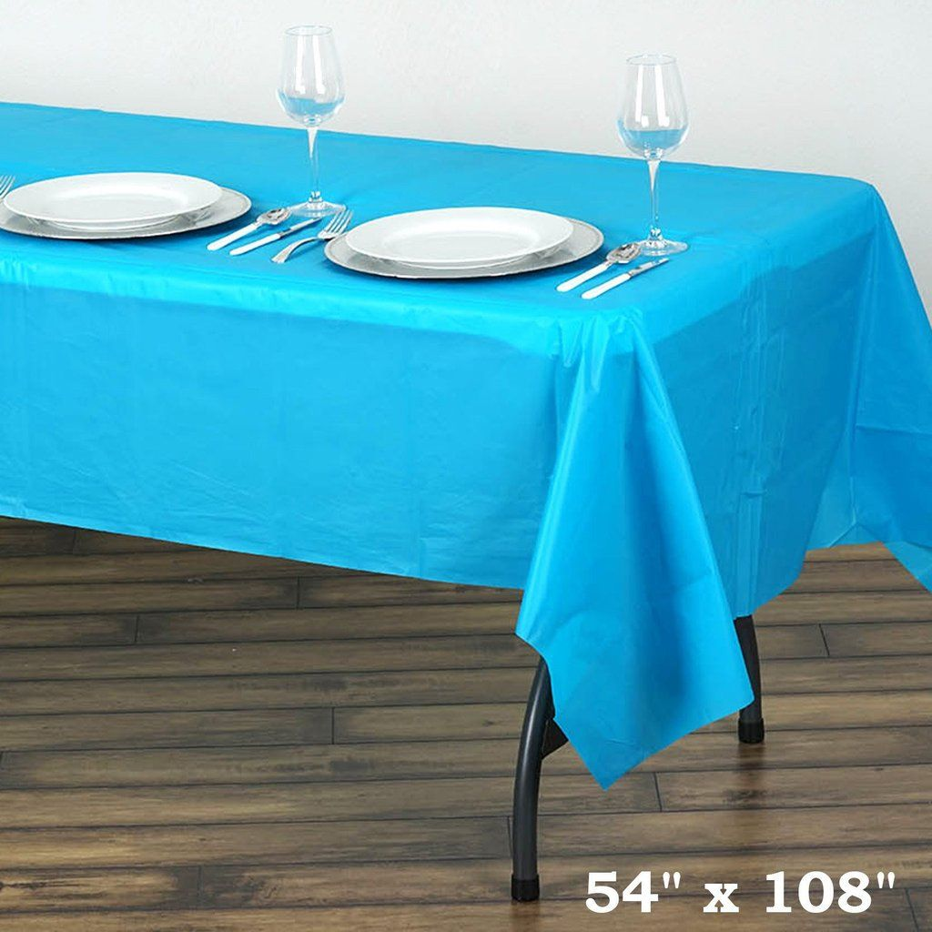 54 X 108 Turquoise 10mil Thick Disposable Plastic Vinyl Rectangular Tablecloth Table Cloth Table Covers Plastic Table Covers