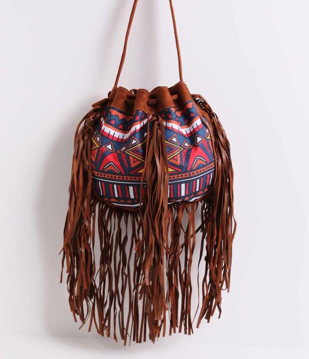 14fb42d81 Bolsa feminina modelo saco estampada com franjas | Bolsas ...
